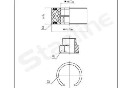 Пiдшипник ступицi колеса STARLINE LO03414